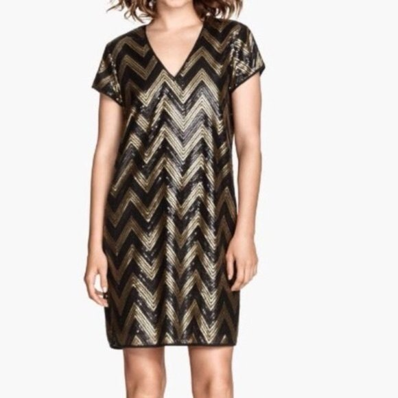 H&M Dresses & Skirts - H&M Chevron Black Gold Sequin Cocktail Shift Dress